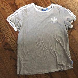 Adidas 3 striped heather grey shirt